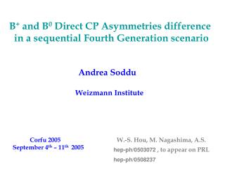 B +  and B 0  Direct CP Asymmetries difference      in a sequential Fourth Generation scenario