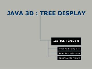 JAVA 3D : TREE DISPLAY