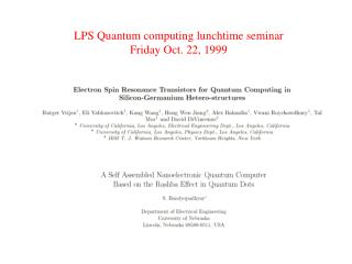 LPS Quantum computing lunchtime seminar Friday Oct. 22, 1999