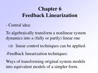 Chapter 6 Feedback Linearization