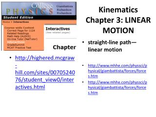 Kinematics Chapter 3:LINEAR MOTION