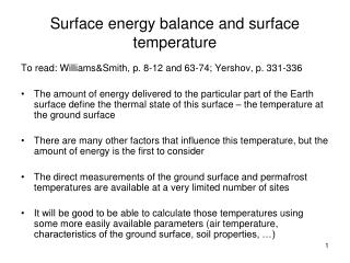Surface energy balance and surface temperature