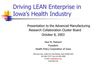 Driving LEAN Enterprise in Iowa's Health Industry