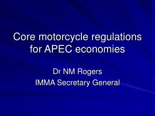 Core motorcycle regulations for APEC economies
