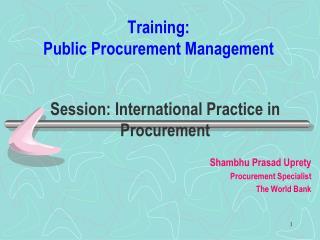 Training:  Public Procurement Management