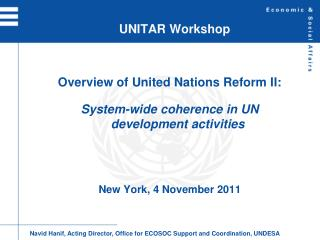 UNITAR Workshop