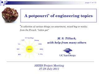 A potpourri *  of engineering topics