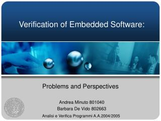Verification of Embedded Software: