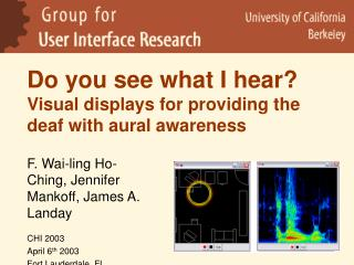 Do you see what I hear  Visual displays for providing the deaf with aural awareness