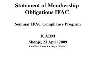 Statement of Membership Obligations IFAC