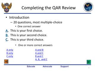Completing the QAR Review