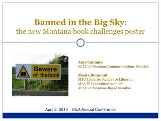 Banned in the Big Sky :  the new Montana book challenges poster