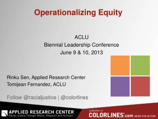 Operationalizing Equity
