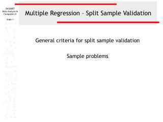 Multiple Regression – Split Sample Validation