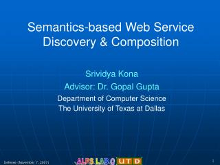 Semantics-based Web Service Discovery & Composition