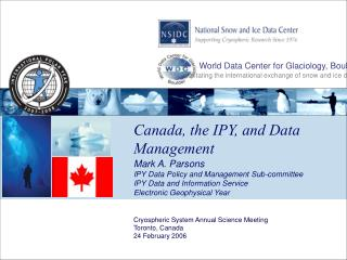 Canada, the IPY, and Data Management