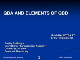 QBA AND ELEMENTS OF QBD
