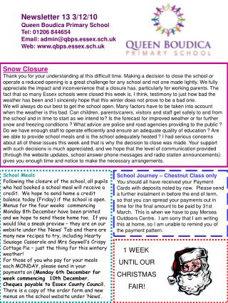 Newsletter 13 3/12/10 Queen Boudica Primary School Tel: 01206 844654