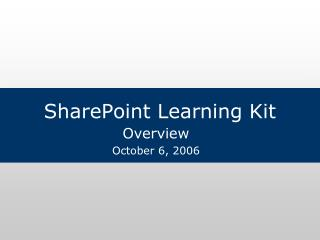 SharePoint Learning Kit