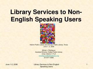 Library Services to Non-English Speaking Users