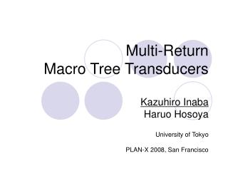 Multi-Return Macro Tree Transducers