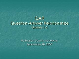 QAR Question-Answer Relationships Grades 1-5