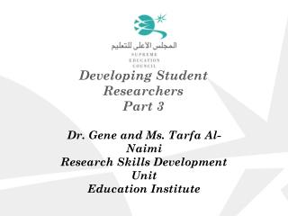 Developing Student Researchers Part 3