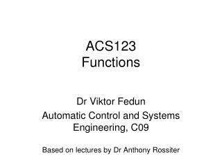 ACS123 Functions