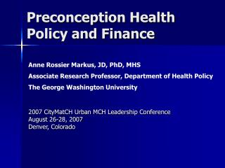 Preconception Health Policy and Finance