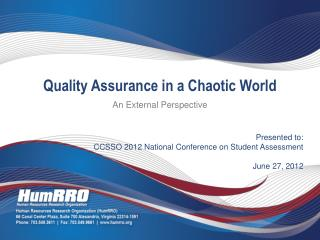 Presented to: CCSSO 2012 National Conference on Student Assessment June 27, 2012