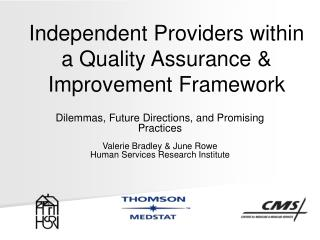 Independent Providers within a Quality Assurance & Improvement Framework