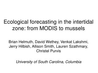 Ecological forecasting in the intertidal zone: from MODIS to mussels
