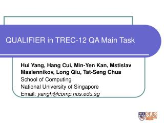 QUALIFIER in TREC-12 QA Main Task