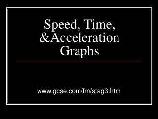 Speed, Time, &Acceleration Graphs