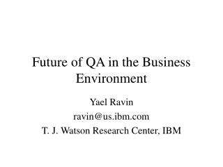 Future of QA in the Business Environment