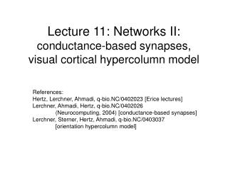 Lecture 11: Networks II: conductance-based synapses,  visual cortical hypercolumn model