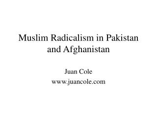 Muslim Radicalism in Pakistan and Afghanistan