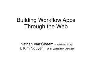 Building Workflow Apps Through the Web