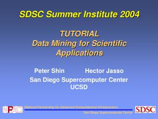 SDSC Summer Institute 2004 TUTORIAL Data Mining for Scientific Applications