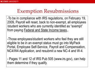 Exemption Resubmissions