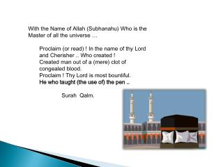 With the Name of Allah (Subhanahu) Who is the Master of all the universe …