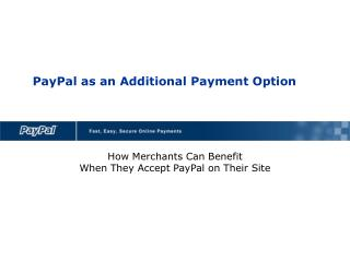 PayPal as an Additional Payment Option