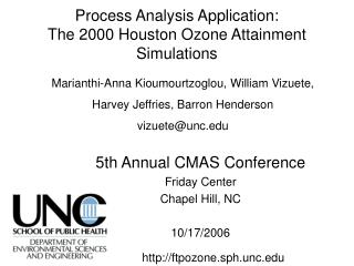 Process Analysis Application: The 2000 Houston Ozone Attainment Simulations
