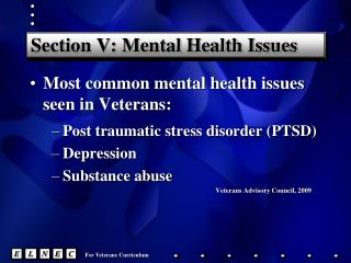 Section V: Mental Health Issues