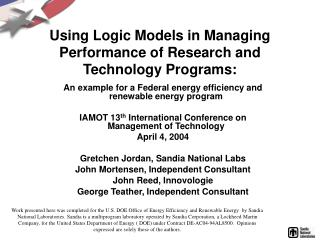 Using Logic Models in Managing Performance of Research and Technology Programs: