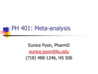 PH 401: Meta-analysis