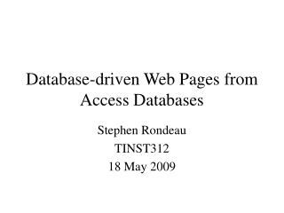 Database-driven Web Pages from Access Databases