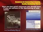 Resources for Sponsoring A Growing,  Healthy Multiplying Church