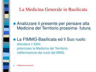 La Medicina Generale in Basilicata