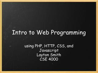 Intro to Web Programming